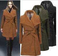 Wholesale Womens Wool Military Coats - 2015 Winter Black Military Elegant Long Wool Coats for women fashion Retro Female warm long Overcoat Womens wool trench Jackets Coats