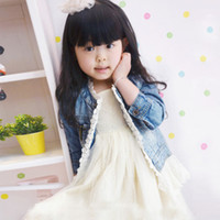 Wholesale Spring Jackets Baby Girl - 2014 Baby girl Fashion Casual lace denim Jackets Girls Cute Tops Children Clothing Kids lace Denim Coats Children Jacket C001