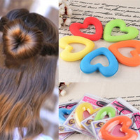 Wholesale Donut Bun Set - New Multi-color Hearts Women Girls Hair donut Bun Ring Shape Style Maker sets Elastic hairbands style fashion design Jewelry for gifts