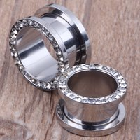 Wholesale ear clamps - New arrival screw clamp crystal flesh tunnel ear piercing F80 mix 4~16mm 160pcs lot stainless steel body jewelry