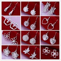 Wholesale Earing Mixed - Mixed style 925 sterling silver plated dangle chandelier earing Small Solid Heart butterfly clover charm Earrings for women jewelry
