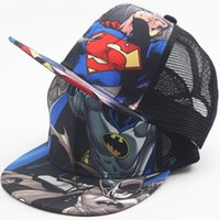 Wholesale Children Hip Hop Hat - 2016 New Kids Baseball Caps Fashion Super Batman Children Snapback Caps Gorras Planas Boys Hip Hop Hat Mesh Summer Hats 2318