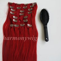 Wholesale Hair Extension Clips Red - 160g 20 22inch Clip in Hair Extensions Brazilian hair Red color Remy Straight Hair weaves 10pcs set free comb