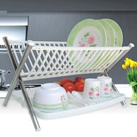 Wholesale Double Dish Rack - New Multi-function kitchen dish rack Stainless steel folding double dish rack kitchen bowl rack drainer Kitchen Storage