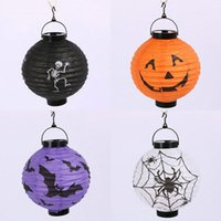 Wholesale Halloween Lights Lantern Ghost - New Arrive Halloween LED Paper Pumpkin Ghost Hanging Lantern Light Holiday Party Decor