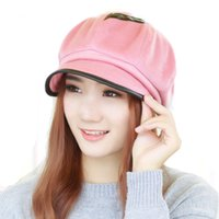 Wholesale knit visor hat women - Wholesale-New High Quality Newsboy Caps Fashion Hat for Women Solid Color Patchwork Cotton Knitting Octagonal Cap Retro Visors