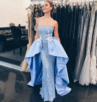 Wholesale Baby Chrismas - Dubai African 2018 Gorgeous Strapless Baby Blue Prom Dresses Lace Appliques Sheath Lace Dresses Evening Wear Zipper Back Party Dress