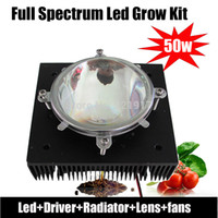 Wholesale Square Sinks - Wholesale-Led grow light kit,DIY COB full spectrum grow light ,50w led +50 driver+heat sink+lens + fan for hydroponics greenhouse