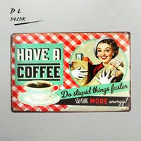 DL- HAVE A COFFEE Targa in metallo Poster Bar d'epoca Artigianato Decor Wall art Targhe per esterni