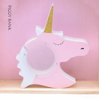 Wholesale Coin Box Design - Unicorn design Piggy Bank Kids Pink White Money Box for Saving Coins Cash Lovely Artware Gift Wooden toy Christmas gift