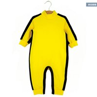 Wholesale Track Baby Girl - Wholesale-2015 Summer Spring Baby romper Bruce Lee Kung Fu Baby Toddler Boy Girl Grow Onesie Jumpsuit Outfit One-Piece Track Suit 0-24M