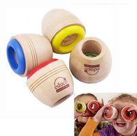 juguete de madera de abeja al por mayor-Envío gratis de los nuevos niños de madera lindo caleidoscopio juguete de madera efecto de ojo de abeja mágica para niños regalo de cumpleaños