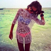 Wholesale Womens Lace Suits - New Womens Bathing Suit Sexy Lace Crochet Bikini Swimwear Cover Up Beach Dress