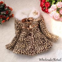 Wholesale Baby Leopard Bows - Hot Autumn Winter Coats Children Clothing BabyGirlLeopardPadded Jackets Faux FurCoat Warm Kids Crystal Flower Bow Outwear Brown SV008289