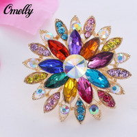 Wholesale Christmas Pins For Cheap - Luxury 14K Gold Plated Colorful Crystal Brooches Pins Flower Rhinestone Bouquet Brooches Flower for Christmas Gift Cheap