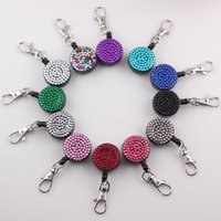 Wholesale Metal Retractable Id Badge Holder - New Arrival Retractable Pull Key Chain Rhinestone Badge Reel ID Tag Card Badge Holder Clip 12 colors O139