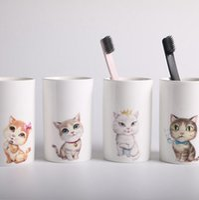 Wholesale Lovers Cup - Cartoon Cats Ceramic Lovers Mug Animal Milk Coffee Cup Creative Tea Mugs Washing Brush Cups 4 Styles OOA3790