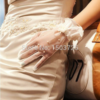Wholesale Wedding Veils Gloves - Hot Sale Lace Applique In Stock Wedding Veil Beads Crystals Hollow Long Bridal Glove Wedding Accessoreis