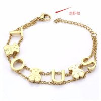 Wholesale Invisible Letter - TL Top Designer Stainless Steel Bear Bracelet Gold Silver Letter Chain Link Women Bracelet&Bangel Never Fade