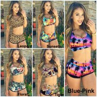 Wholesale Bra Leopard - Fashion Sexy Women Bandage Swimsuit Tankini Sunset Coconut Palm 3D Printed Racerback Vest Tank Tops Bra & Shorts Sports Swimwear KF898