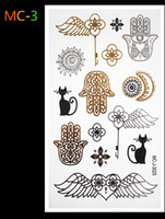 Wholesale-Buddha Indien Pharao DIY Body Art Tattoo-Flash-Gold-Schmuck großen temporären arabische indischen Henna-Tattoos Sticker