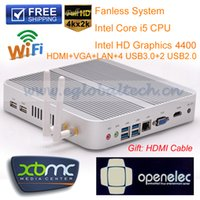 Wholesale Fanless Computers Barebone Mini PC With Intel Core i5 U CPU GPU HD4400 Windows HTPC HDMI K Video WiFi IR and Bluetooth