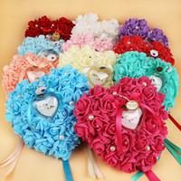almofada de casamento em forma de coração venda por atacado-Caixa de Anel de casamento Flor Decorado Coração Forma Titular Anel Rose Flor Anel de Travesseiro 7 Cores 21 * 23 cm