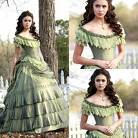 Wholesale Olive Green Taffeta - Retro Nina In Vampire Diary Vintage Quinceanera Dresses Lace Tiered Scoop Ball Gown Formal Prom Gowns Full length Taffeta Sleeveless WC20