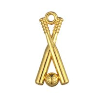 Wholesale Baseball Bat Gifts - Fitness 50pcs a lot Zinc Alloy Antique Silver&Gold Sports Baseball Bat Bodybuilding Pendant Charms For Anniversary Or Gifts