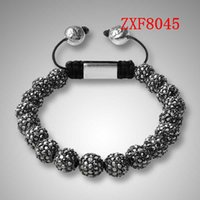 Wholesale Hand Made Bracelets For Men - Nialaya alloy balls with cz diamond bracelets shamballa jewelry totally hand made fashion bracelet for man zxf8045