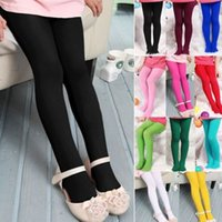 Wholesale Cute Girls Style - 2016 Wholesale kids Girls Toddler Pantyhose Trousers Candy Colors Skinny Cute Velvet Solid leggings Free Shipping