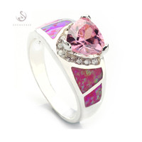 Wholesale Purple Opals - Clearance R341 size#6 7 8 9 10 Free shipping Wholesale Pink Cubic Zirconia with Pink opal (purple) Promotion silver Plated ring