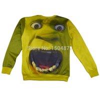 Wholesale Shrek Clothes - New funny pattern hulk shrek print 3D graphic crewneck sweatshirt for men woman Cartoon hoodie outdoor clothes Free shipping