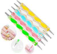 ensemble de points d'ongle achat en gros de-2-way Dotting Pen Marbleizing Outil Vernis à ongles Peinture Manucure Dot Nail Art Set 5 pcs / lot
