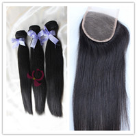 Wholesale Buy Unprocessed Virgin Hair - Buy 3Hair Bundles Weft Get Free Lace Closure!6A Unprocessed Peruvian Brazilian Virgin Hair Extension Silky Straight Human Hair Weave Dyeable