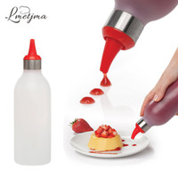 Al por mayor- LMETJMA 450ML Salsa Squeeze Botellas Con Decorador Tip Silicona Sueeze Salsa Botella Botellas de Plástico Para Salsas KC0323-4