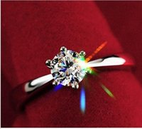 Wholesale Diamond Swiss Ring - 925 sterling silver wedding rings jewelry Classic Engagement Ring 6 Claws 5mm AAA Swiss Arrows CZ Diamond Ring Jewelry