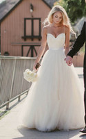 Wholesale Tulle Discount Wedding Dresses - Beach Wedding Dresses 2015 New Sweetheart with Lace Corset Bodice Spaghetti Straps Tulle Bridal Gowns Discount Sale Princess Country Bridal