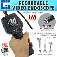 """Wholesale Video Camera Repair - VID-71R-9-1M Recordable Video Inspection 2.4"""" HD Endoscope Snake Scope 1M Cable Industrial Borescope 4 LED Car Engine Repair Tool 9mm Camera"""