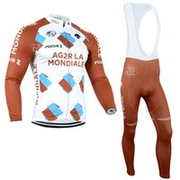 Wholesale Thermal Wear For Men - AG2RLA MONDIALE Winter Cycling Jerseys Thermal Fleece Cycling Clothing Long Sleeve for Men Riding Racing MTB Bike Clothes for Winter Wear