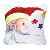 "Wholesale Lighted Decorative Boxes Wholesale - Wholesale-Christmas Pillowcase Cushion Home Decorative Santa Claus Throw Pillow 18"" box Cotton Velvet Linen Cartoon Gift W1"