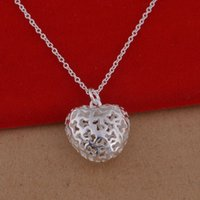 Wholesale 925 Sterling Silver Pendant Large - 925 sterling silver necklace Korean version of the popular heart-shaped hollow necklace jewelry wholesale trade large spot