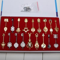 Wholesale Tattoo Keys - Set Fairy Tail Lucy 18pcs set Key Keychain Scale & Pink Tattoo Heartfilia sign of the zodiac gold