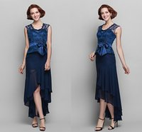 Wholesale Anne Blue - Queen Anne Sweetheart Asymmetrical Chiffon And Lace Mother of the Bride Dresses Formal Party Elegant Turquoise Floor-Length Evening Dresses