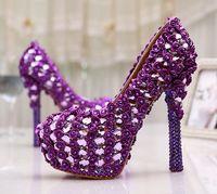 plataforma de zapatos de boda púrpura al por mayor-Tamaño grande 11 Gorgeous Purple Crystal Plataforma Tacones Bombas Mujeres Wedding Party Dress Shoes 5 pulgadas Wedding Bouquet Zapatos de baile