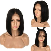 Wholesale Black Women Short Wigs - 9A Pre Plucked Human Hair Wigs With Baby Hair Silky Straight Brazilian Virgin Lace Front Bob Wigs For Black Women Lace Frontal Wig