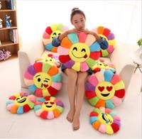 Wholesale flower cushions online - 35 cm Creative d Flower toys Chair Seat Cushions Pillow Home Decor For Sofas Fashion Emoji Pillow Cushion Pad Smiley Emoticon Cushion toy