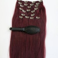 Wholesale red wine hair extension for sale - 160g inch Human Hair Clip in Hair Extensions Smooth Brazilian Hair J Red Wine Remy Straight Hair set free comb