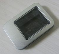 usb şeffaf kutu toptan satış-Pencere ile 10 ADET Dikdörtgen USB kutusu Metal ambalaj Şeffaf hediye kutusu Boyutu 90x60x18 mm 3.54x2.36x0.71 inç.