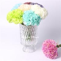 flores artificiais de aparência real venda por atacado-Hot 8 cores 21 cm cravo diy casa de casamento decoração do dia de monther artificiais real olhar seda flor decoração flor